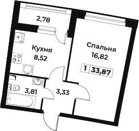 1-комнатная, 33.87 м²– 2