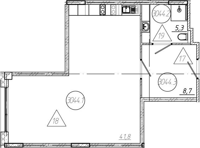 Студия, 55.8 м²