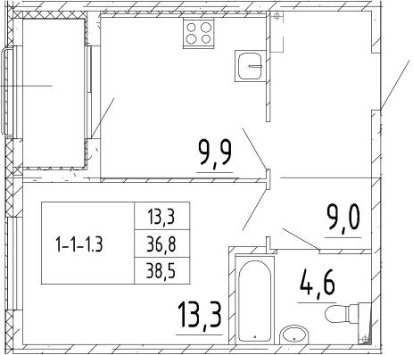 1-комнатная квартира, 38.5 м², 2 этаж – Планировка