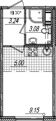 Студия, 20.47 м², 12 этаж