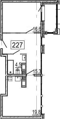 2Е-к.кв, 57.5 м², 11 этаж