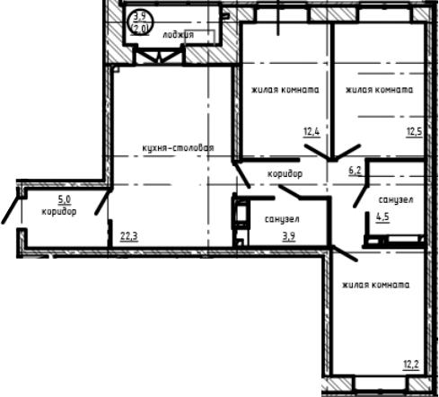 3-комнатная квартира, 81 м², 3 этаж – Планировка