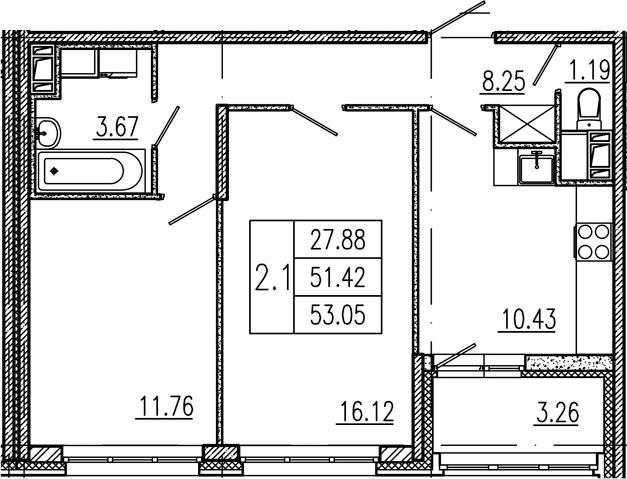 2-к.кв, 51.42 м²