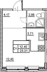 Студия, 23.31 м², 1 этаж