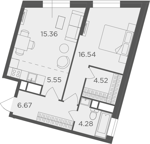 2Е-комнатная, 52.92 м²– 2