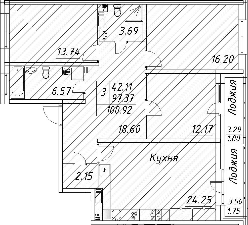 4Е-к.кв, 100.92 м², от 5 этажа