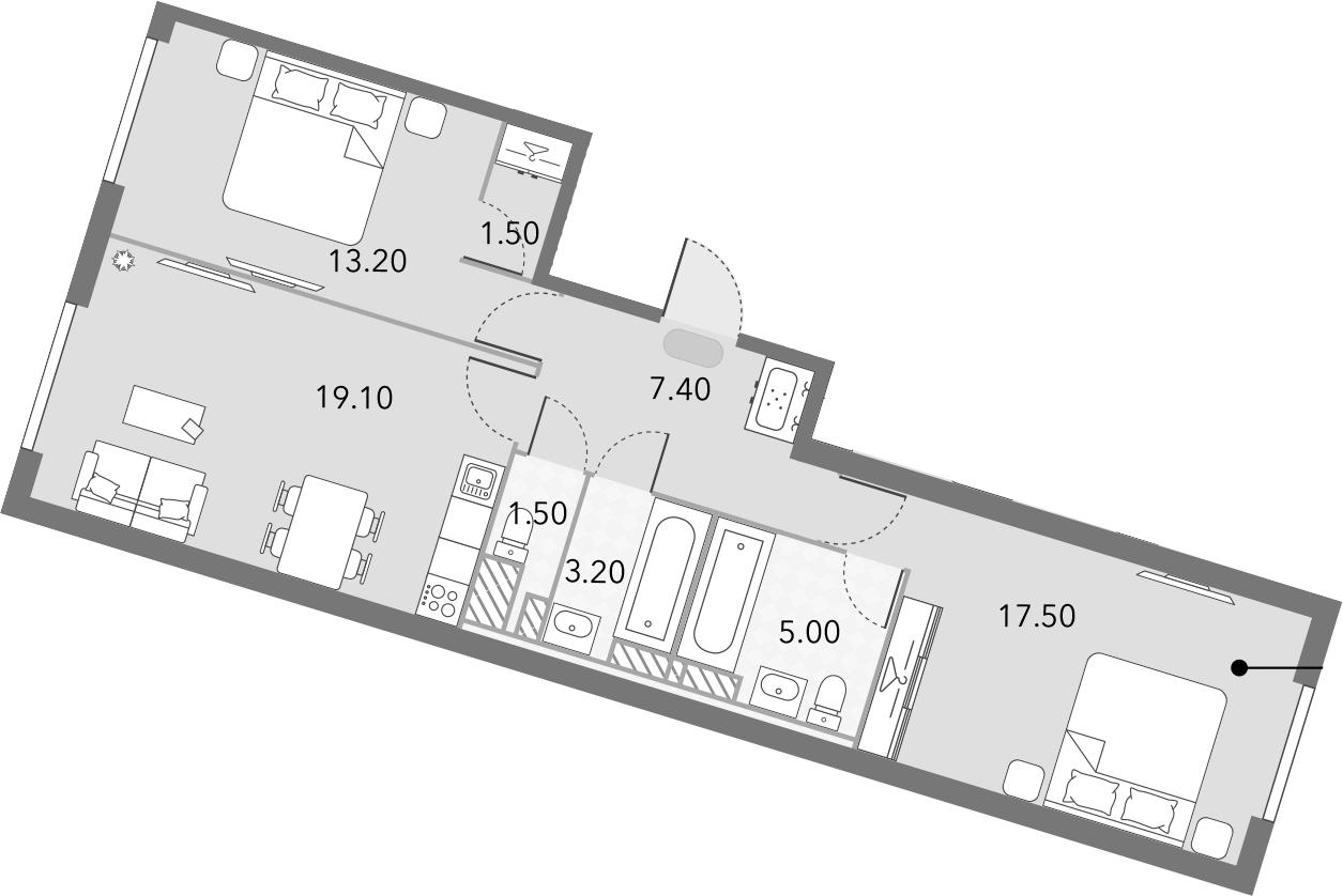3Е-комнатная, 68.4 м²– 2