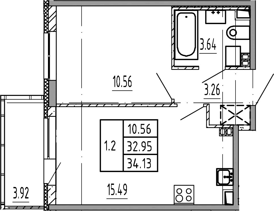 2Е-комнатная, 34.13 м²– 2