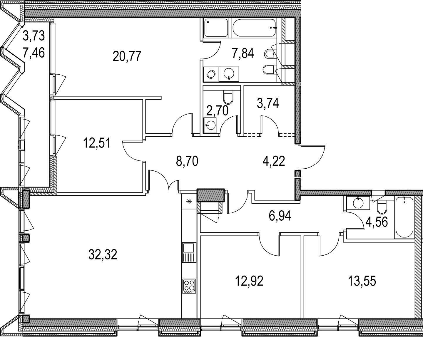 5Е-комнатная, 134.5 м²– 2