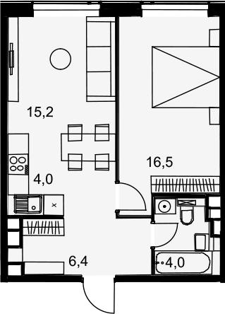 2Е-комнатная, 46.1 м²– 2