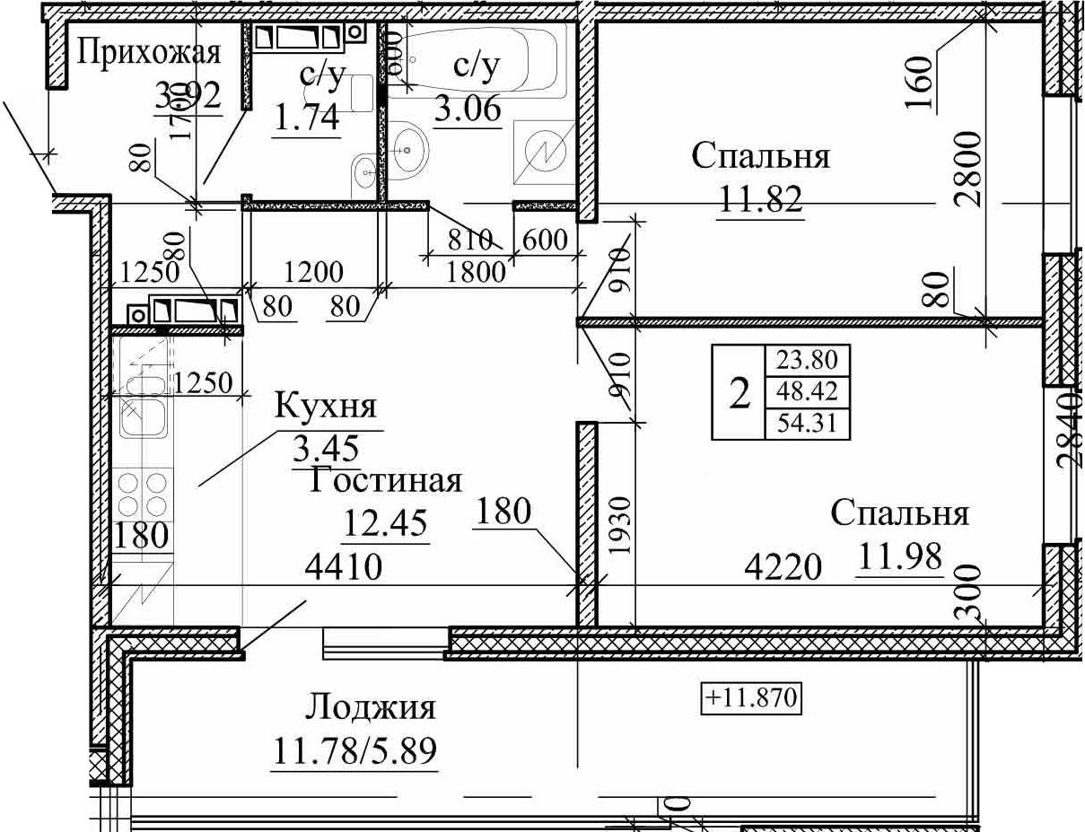3Е-к.кв, 54.31 м²