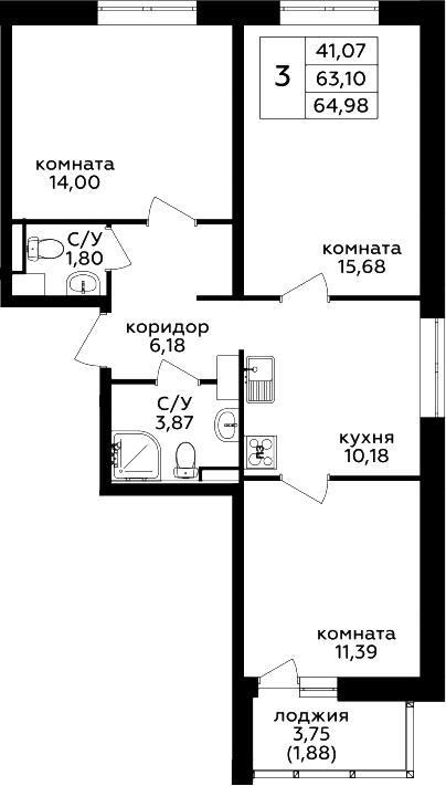 3-комнатная, 64.98 м²– 2