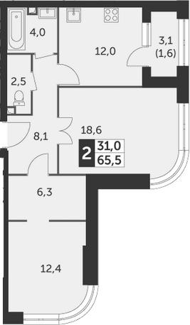 2-комнатная, 65.5 м²– 2