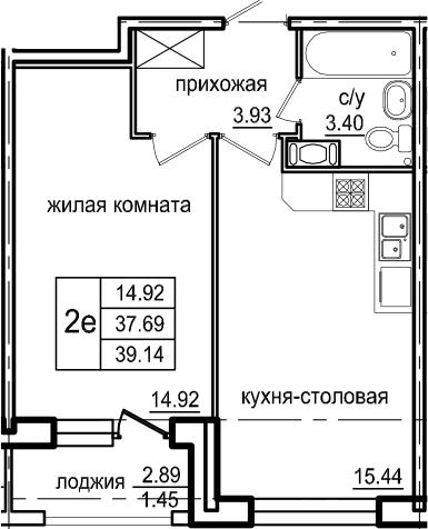 2Е-к.кв, 39.14 м², 3 этаж