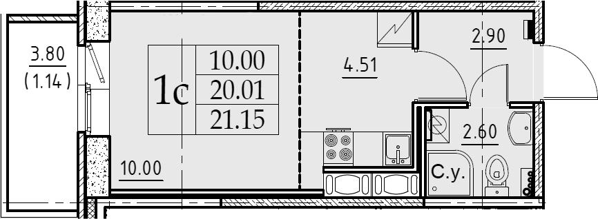 Студия, 21.15 м², от 7 этажа