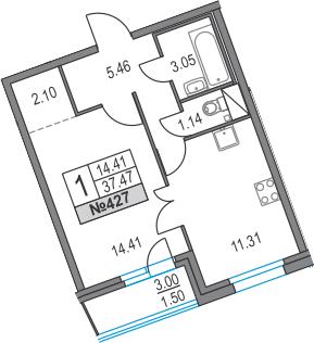 1-к.кв, 40.47 м²