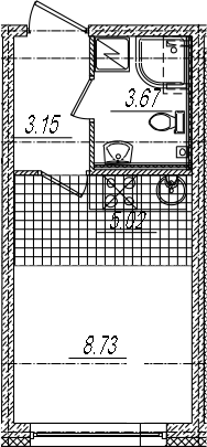 Студия, 20.57 м²– 2