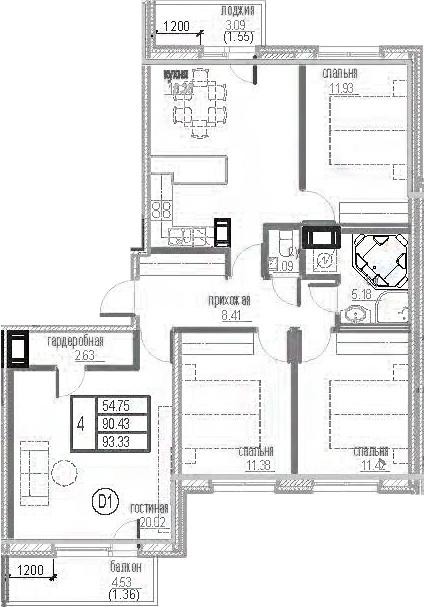 4-к.кв, 97.27 м²