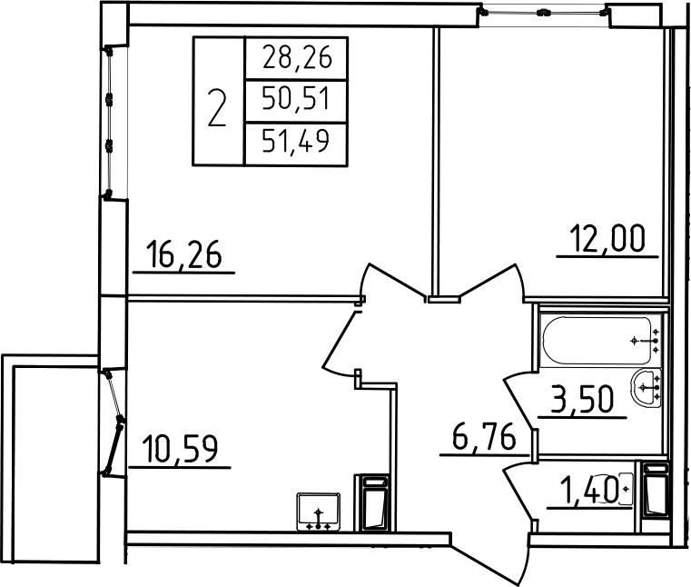 2-комнатная, 51.49 м²– 2