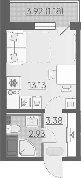 Студия, 20.62 м²