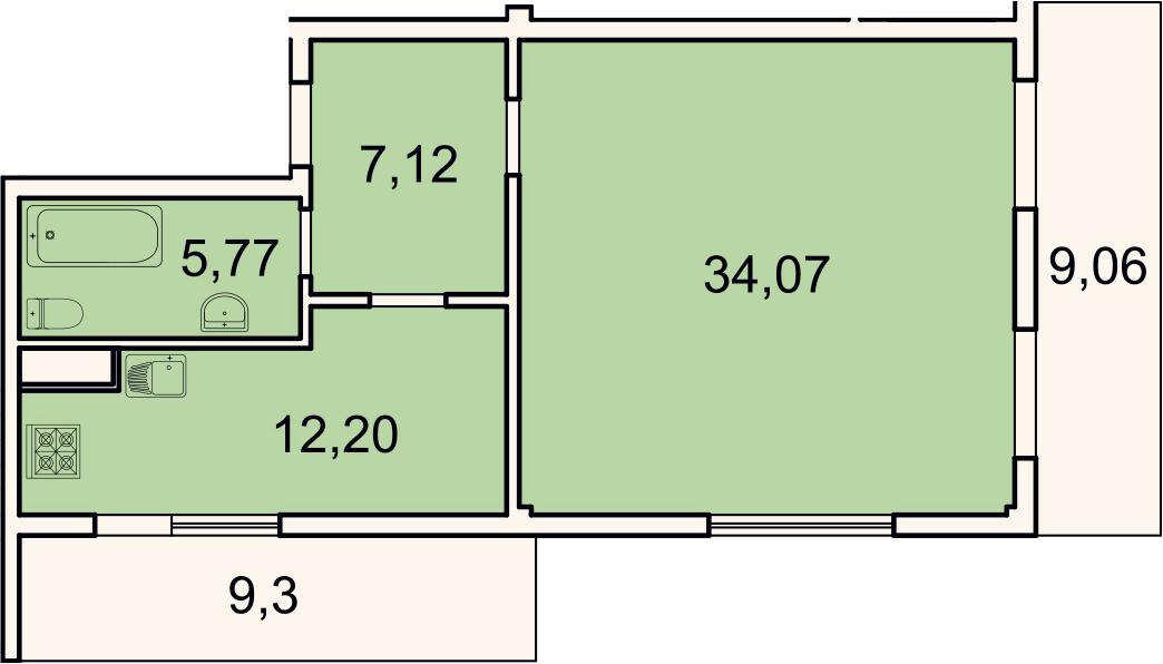 1-к.кв, 64.7 м², 2 этаж