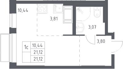 Студия, 21.12 м²– 2