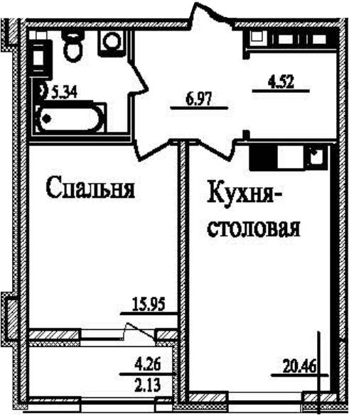 1-к.кв, 57.5 м²