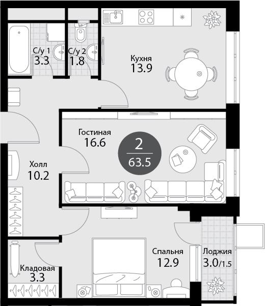 2-к.кв, 65 м²