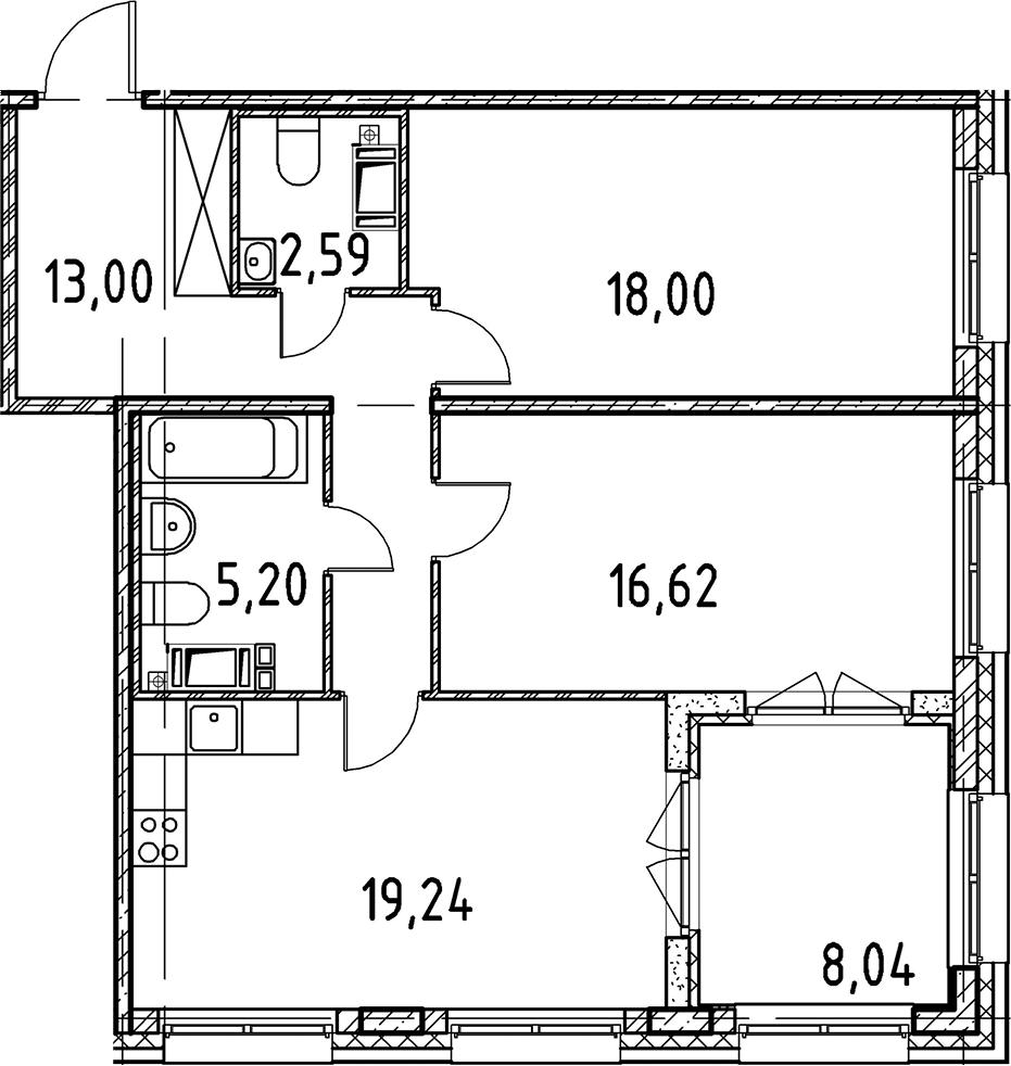 3Е-к.кв, 74.65 м², 2 этаж