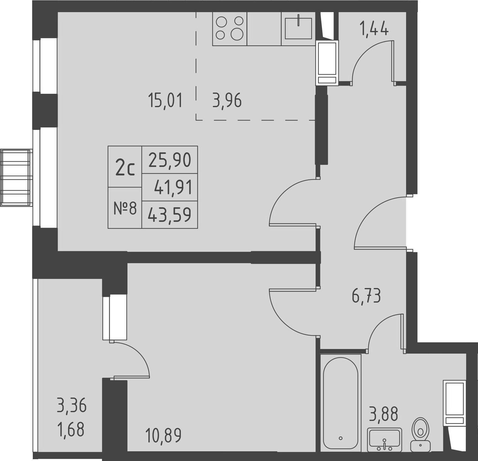 2Е-к.кв, 43.59 м²
