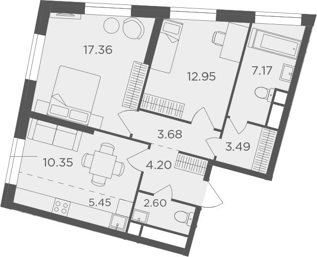 3Е-к.кв, 67.25 м², 28 этаж