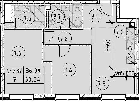 3Е-к.кв, 58.34 м²
