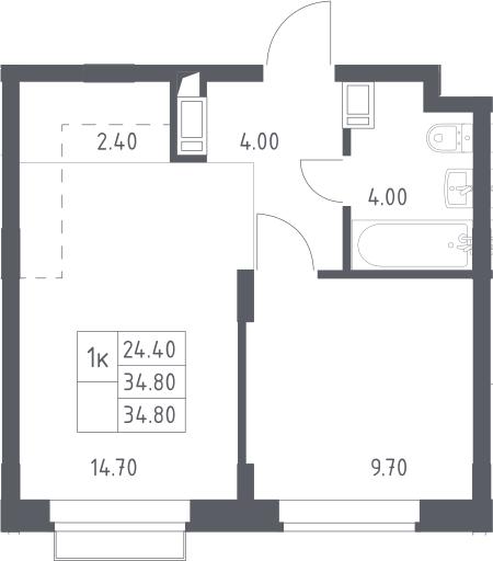 2Е-к.кв, 34.8 м², 10 этаж