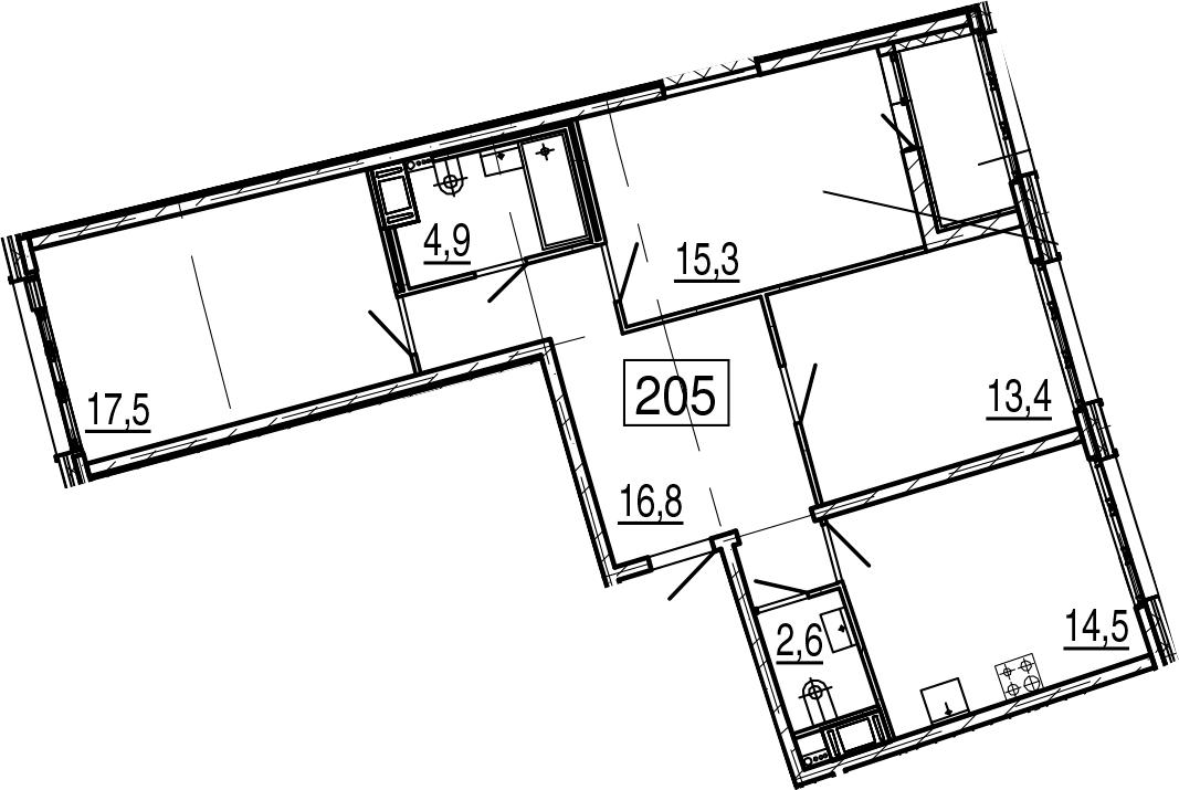 3-к.кв, 86.6 м², 4 этаж