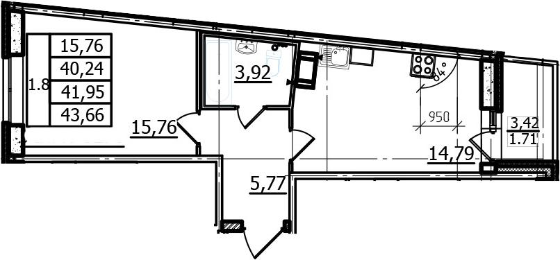 1-к.кв, 40.24 м², 14 этаж