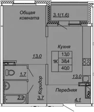 1-к.кв, 40 м², 2 этаж