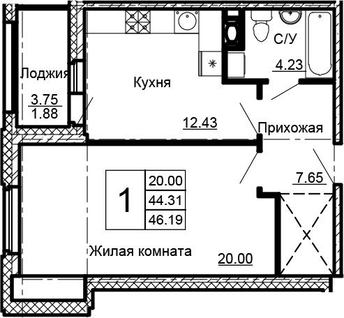 1-к.кв, 48.07 м²