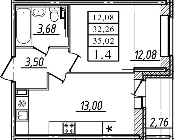 1-комнатная, 32.26 м²– 2