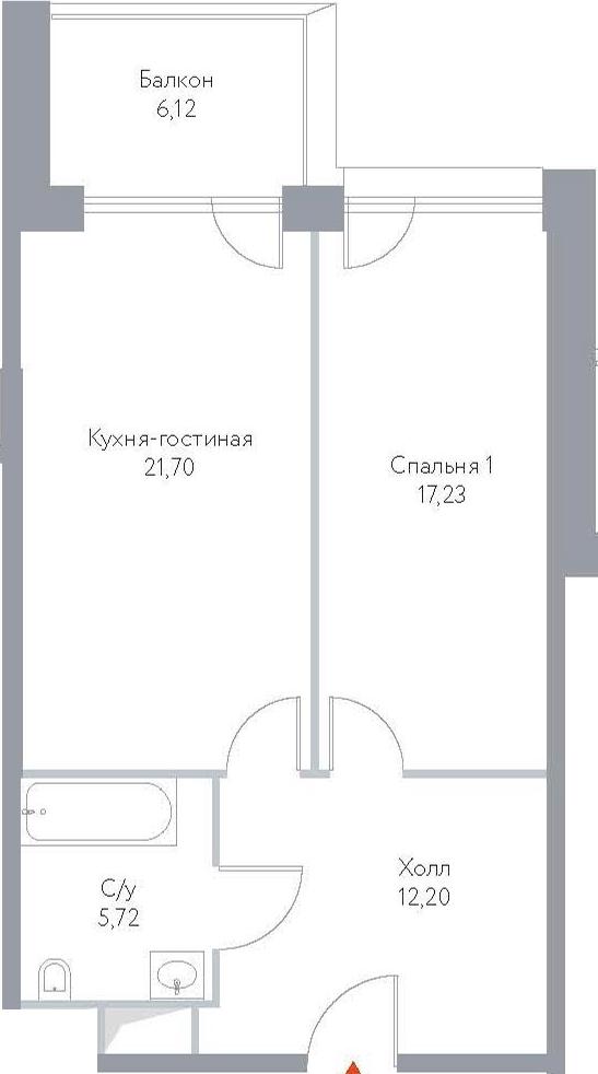 2Е-к.кв, 62.97 м², 5 этаж