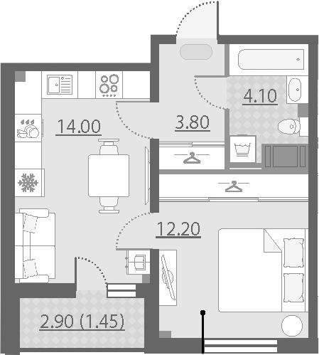 1-к.кв, 35.55 м²