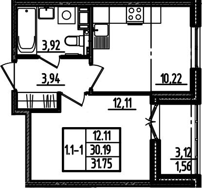 1-к.кв, 33.31 м²