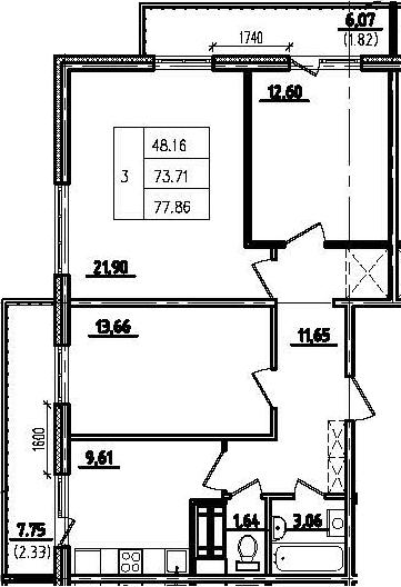 3-к.кв, 87.67 м²