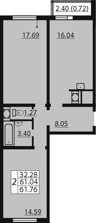 3-к.кв (евро), 63.44 м²