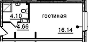 Студия, 24.9 м²– 2