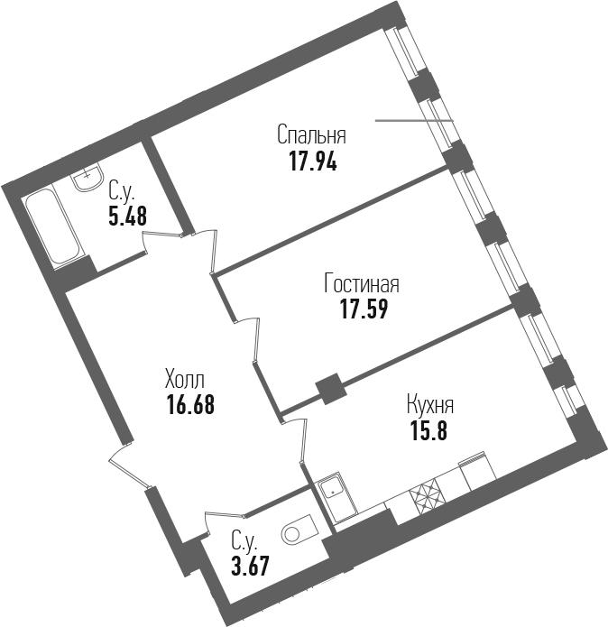 3-к.кв (евро), 77.16 м²