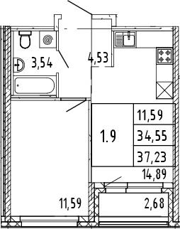 2Е-комнатная, 37.23 м²– 2
