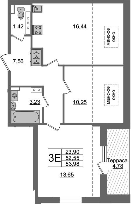 3Е-комнатная, 52.55 м²– 2