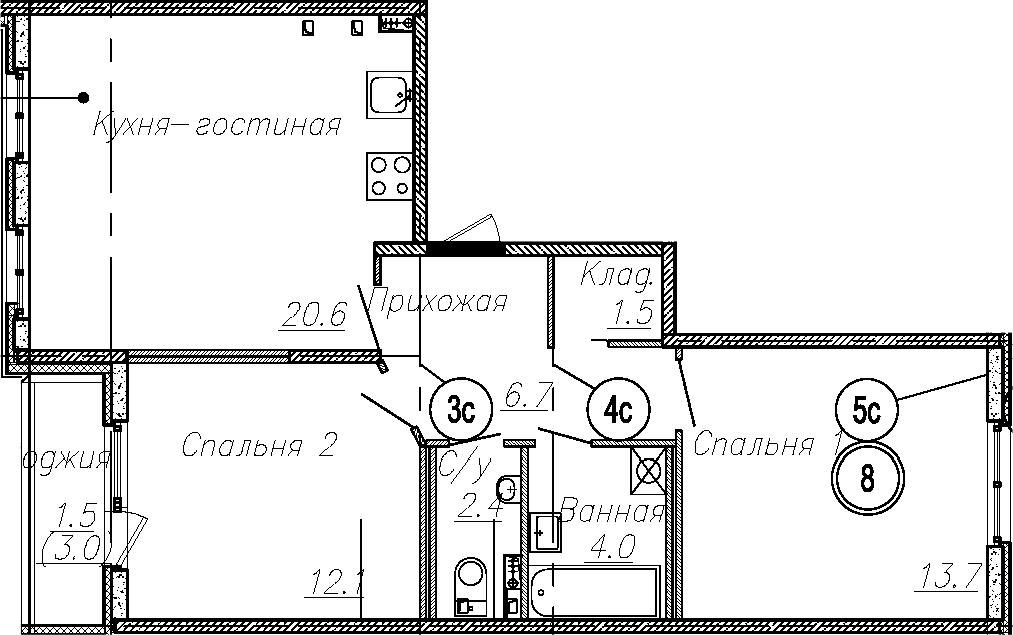 3Е-комнатная, 61 м²– 2