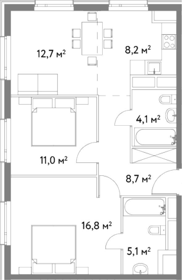 3-к.кв (евро), 66.6 м²