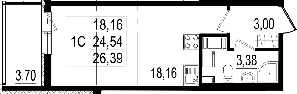 Студия, 24.54 м²